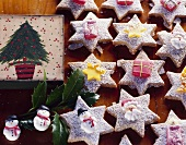 Christmassy spiced biscuits decorated with sugar figures