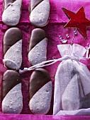 Espresso sticks (meringues with chocolate icing)