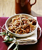 Pici al ragù (pasta with meat ragout), Tuscany, Italy