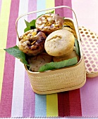 Banana muffins and chocolate & mango muffins in basket