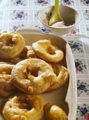 Deep-fried apple rings with cinnamon sugar