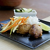 Fish cakes with vegetables and rice (Thailand)