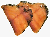 Two slices of gravadlax
