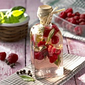 Raspberry and basil vinegar