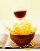 Cheese crisps and red wine