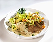 Boiled beef fillet with vegetables and parsley potatoes