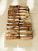 Various wine corks in two rows