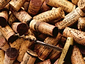 Various wine corks and old corkscrew