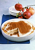 Apple tiramisu in white dish