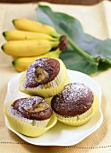 Chocolate muffins with bananas