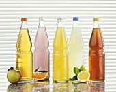 Five different lemonades in bottles