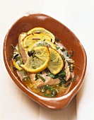 Salmon fillet with lemon and caper butter