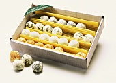 Fresh goat's cheese 'chocolates' in box