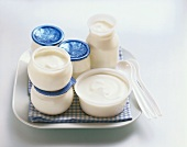 Natural yoghurt in pots