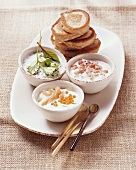 Blinis with caviare and yoghurt dips