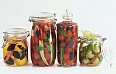 Bottled tomatoes in jars