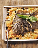 Rombo al forno (oven-baked turbot with vegetables, Italy)
