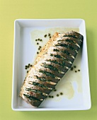 Fried salmon with dill and caper butter