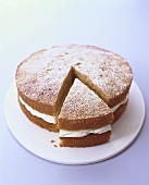 Orange carrot cake with icing sugar, a piece cut