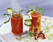 Vegetable drinks with dill and cucumber