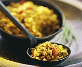Saffron rice with peppers and onions