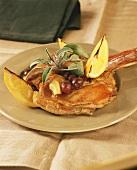 Roast rabbit with olives, lemon and sage