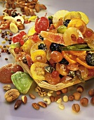 Still life with candied fruit and nuts