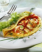 Herb omelette with mushrooms and tomatoes