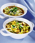 Cabbage soup with mushrooms and sweetcorn