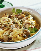 Ribbon pasta with mushroom sauce