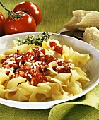 Pasta with spicy tomato sauce with bacon