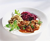 Venison ragout with dittany, spelt noodles & red cabbage