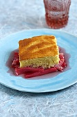 Piece of cake on rhubarb compote