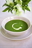 Watercress soup with blob of cream