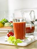 Tomato juice, fresh tomato and celery
