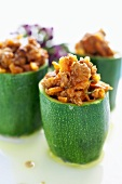 Courgettes stuffed with lamb ragout