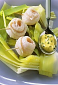 Monkfish rolls on leeks with mayonnaise