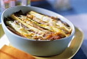 Leek gratin with bacon
