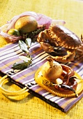 Ingredients for crab stuffed with Merguez sausages
