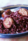 Red cabbage with smoked sausage