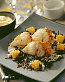 Monkfish with rice and pineapple