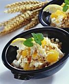 Sweet wheat porridge with fruit