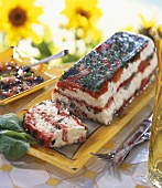 Fresh goat's cheese terrine with red peppers