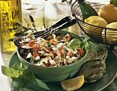 Artichoke salad with tomatoes, basil and mozzarella