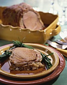 Roast veal with potato crust