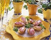 Red mullet fillets on baked potatoes