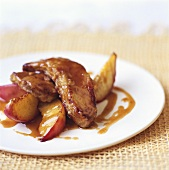 Fried goose liver with peaches