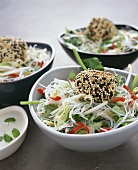 Glass noodle salad with sesame chicken dumplings