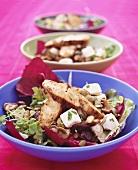 Three green salads with chicken, cheese & shiitake mushrooms