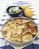 Salmon gratin with herbs and potatoes (Sweden)